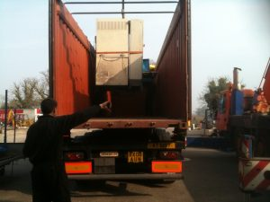 machinery destined for Alexandria in the container, loaded on the trailer